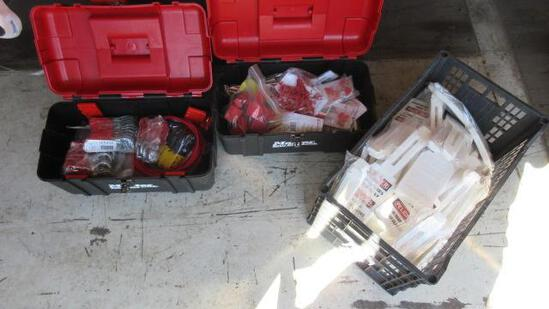 (2) TOOL BOXES W/ ASSORTED LOCKOUT-TAGOUT EQUIPMENT & CRATE OF LOCKOUT TAGS