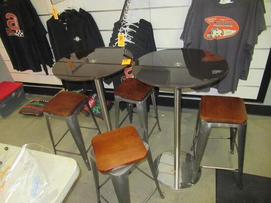 (2) PEDESTAL GLASS TOP TABLES W/(4) STOOLS
