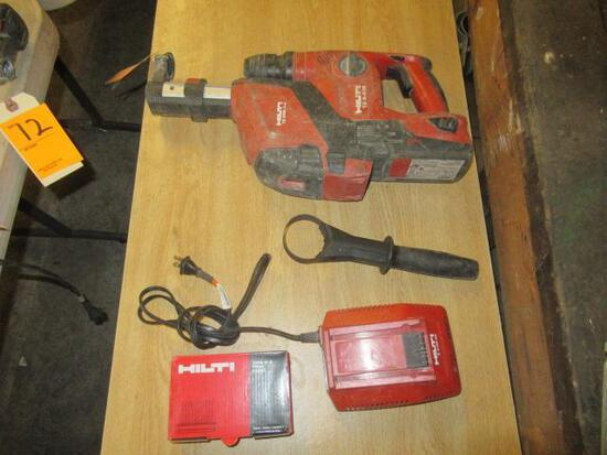 HILTI TE 4-A18 22V CORDLESS ROTARY HAMMER DRILL W/HILTI TE DRS-4-A VACUUM SYSTEM, BATTERY & CHARGER