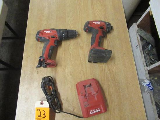 HILTI 22V CORDLESS IMPACT DRIVER & DRILL W/(1) BATTERY & CHARGER