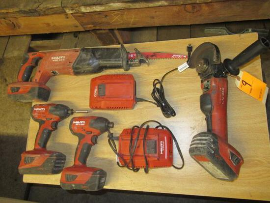 HILTI 22V CORDLESS TOOLS - (2) IMPACT DRIVERS, RECIPROCATING SAW, 5'' ANGLE GRINDER, (2) CHARGERS &