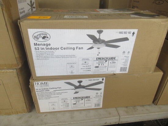 HAMPTON BAY 52'' & 54'' CEILING FANS