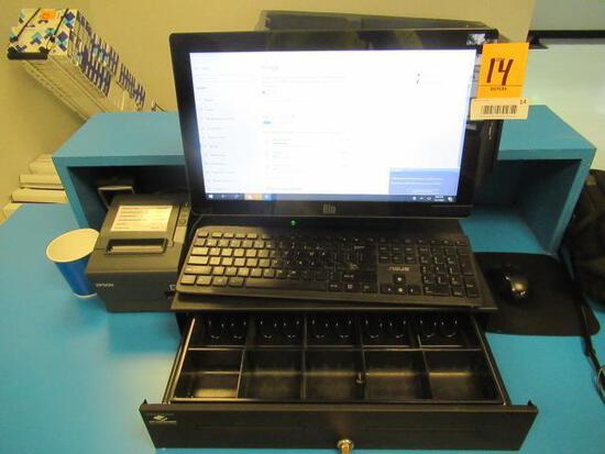 ELO TOUCH SCREEN COMPUTER, CASH DRAWER, RECIEPT PRINTER & CARD READER