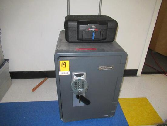 FIRST ALERT SAFE (*OPEN W/KEY - UNKOWN COMBINATION) & SENTRY SAFE PORTABLE SAFE