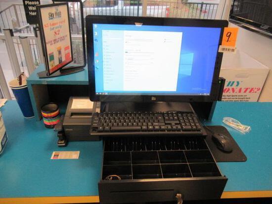 HP COMPUTER W/ELO TOUCH SCREEN MONITOR, CASH DRAWER, RECIEPT PRINTER & CARD READER