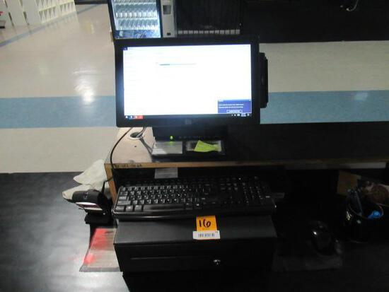 ELO TOUCH SCREEN COMPUTER W/CASH DRAWER, HONEYWELL BARCODE SCANNER & RECIEPT PRINTER.