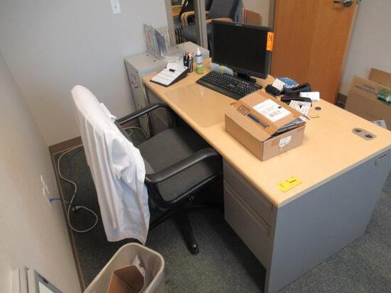 METAL DESK W/WOOD TOP, 2 DRAWER FILE CABINET & OFFICE CHAIR