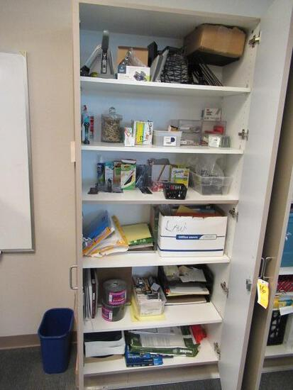 CONTENTS OF CABINET - ASSORTED OFFICE SUPPLIES