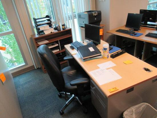 METAL DESK , (2) CABINETS & OFFICE CHAIR