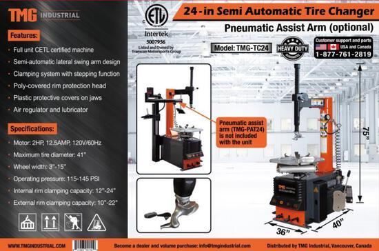 TMG TC24 24'' SEMI AUTOMATIC TIRE CHANGER