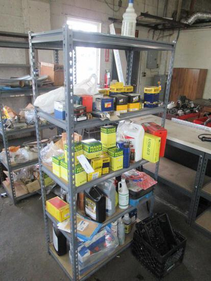 5 SHELF METAL RACK W/CONTENTS - ASSORTED FILTERS, LIGHTS, COOLANT, WASHER FLUID