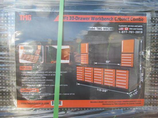 TMG-WBC30D 10' 30 DRAWER WORKBENCH CABINET COMBO W/ 68'' PEGBOARD (112''L X 27.5''W X 77''T)