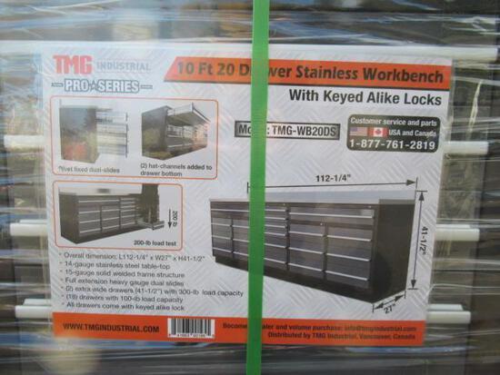 TMG-WB20DS PRO SERIES 10' 20 DRAWER STAINLESS WORKBENCH W/ KEYED ALIKE LOCKS (112''L X 27''W X