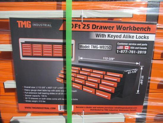 TMG-WB25D 10' 25 DRAWER WORKBENCH W// KEYED ALIKE LOCKS (112''L X 27.5''W X 37''T) (UNUSED)