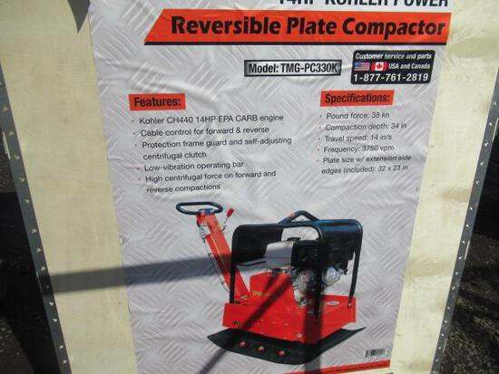 TMG-PC330K REVERSIBLE PLATE COMPACTOR W/ KOHLER 14HP GAS ENGINE (UNUSED IN CRATE)