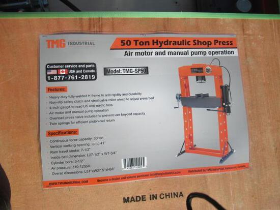 TMG-SP50 50 TON HYDRAULIC / AIR SHOP PRESS W/ ADJUSTABLE BED (UNUSED IN CRATE)