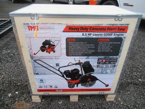 TMG-Q300 CONCRETE FLOOR SAW, 3.15'' CUTTING DEPTH, 6.5 HP LONCIN GAS ENGINE (UNUSED IN CRATE)