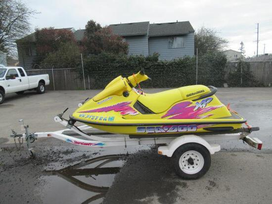 1996 SEA DOO BOMBARDIER XP JET SKI & SHORELANDER TRAILER