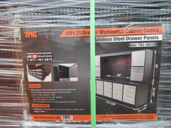 TMG-WBC20D 10' 20 DRAWER WORKBENCH CABINET COMBO W/ STAINLESS STEEL DRAWER PANELS