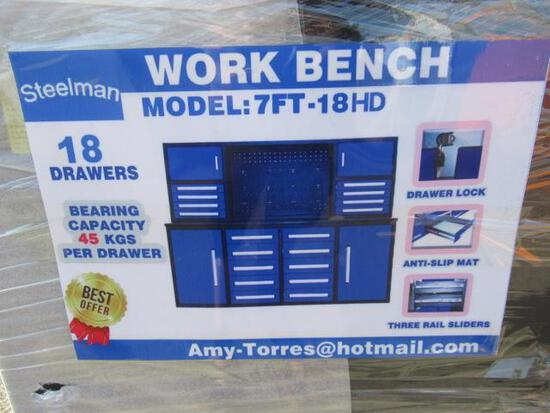 2021 STEELMAN 7' WORKBENCH W/ 18 DRAWERS, 4 STORAGE CABINETS & ANTI SLIP MATS