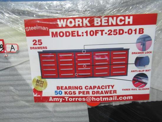 2021 STEELMAN 10' WORKBENCH W/ 25 DRAWERS & ANTI SLIP MATS