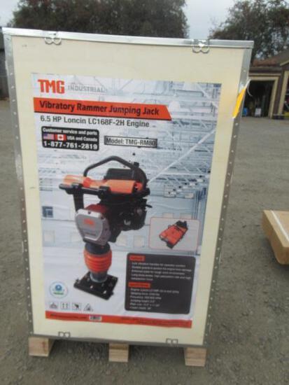 TMG INDUSTRIAL TMG-RM80 TAMPING RAMMER / JUMPING JACK COMPACTOR W/ LONCIN 6.5 HP GAS ENGINE (UNUSED)