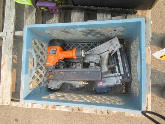 PLASTIC CRATE W/ (5) ASSORTED PNEUMATIC STAPLE GUNS