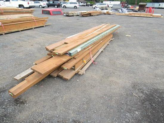 PALLET OF ASSORTED SIZE & LENGTH PRESSURE TREATED WOOD BEAMS & BOARDS