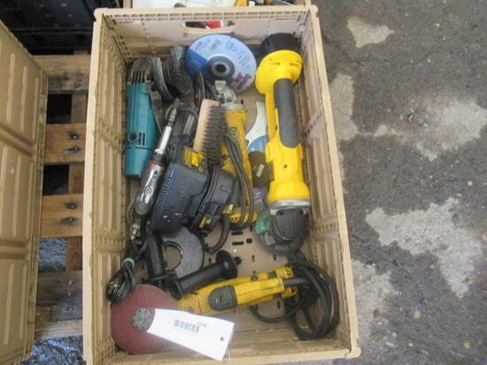 PLASTIC CRATE OF ASSORTED ELECTRIC RIGHT ANGLE GRINDERS