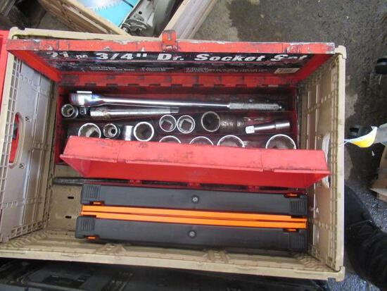 PLASTIC CRATE W/ASSORTED SOCKET SET & SAFETY TRIANGLES