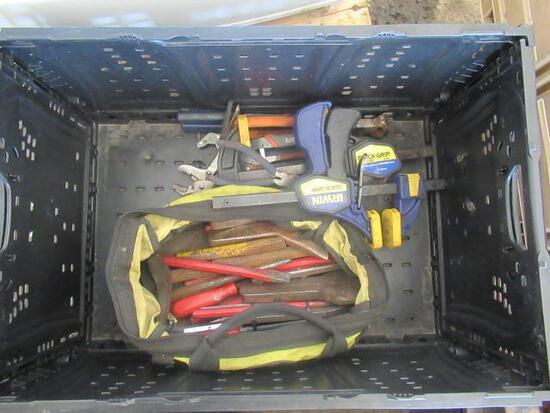 PLASTIC CRATE OF ASSORTED PLIERS & CHISELS