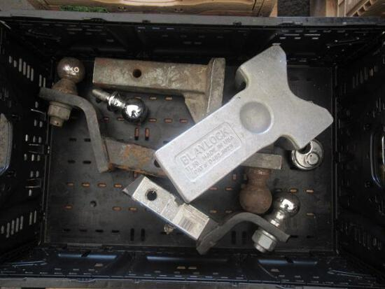 PLASTIC CRATE OF ASSORTED DROP HITCHES