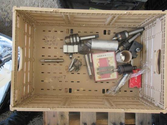 PLASTIC CRATE OF ASSORTED LATHE / MILL CHACKS & PARTS
