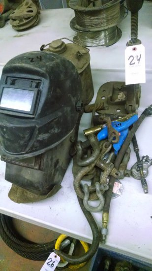 LOT OF WELDING HELMETS, CLEVISES AND HOOKS