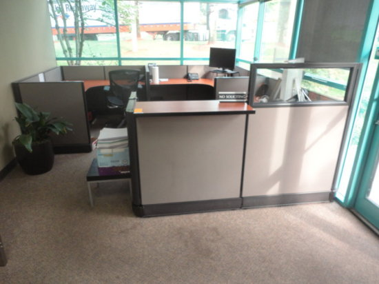 "RECEPTION CUBICLE AREA W/ (1) 5' X 6' WORK TOP AREA, (1) 5' 5"" X 5' 5"" WORK"