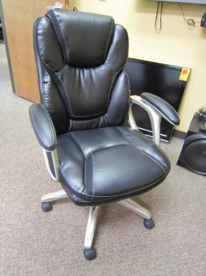 (3) ROLLING LEATHER EXECUTIVE STYLE CHAIRS
