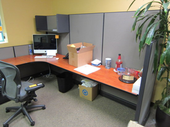 SIX PERSON CUBICLE WORK STATION WITH - (2) 9' X 11' X 11' X 6' THREE PERSON
