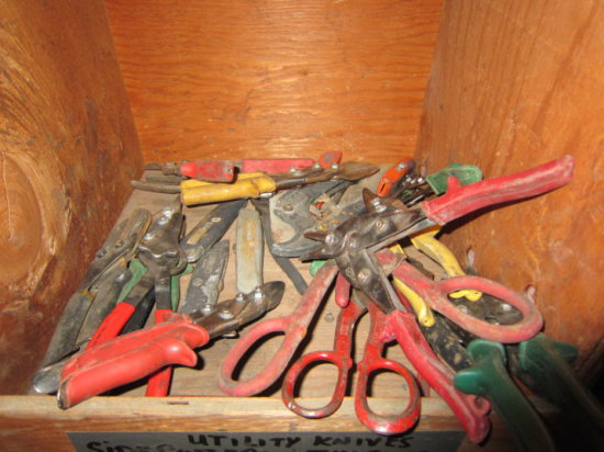 LOT OF 12 CUBIES OF ASSORTED ABRASIVES, WIRE BRUSHES, TIN SNIPS AND MISC.