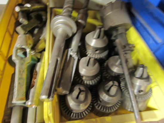 LOT OF ASSORTED CHUCKS, MILL ENDS AND BITS