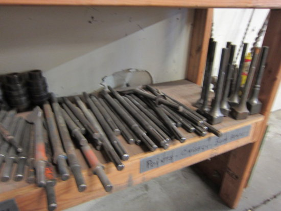 LOT OF MOSTLY CHIPING GUN, RIVET BUSTER AND CHISEL HAMMER BITS