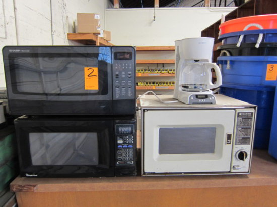 LOT OF THREE MICROWAVES AND MR. COFFEE MAKER