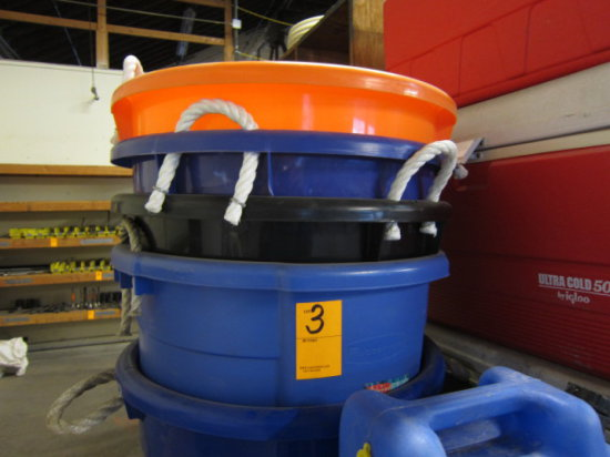 LOT OF THREE CHEST COOLERS, (5) ROUND PLASTIC TOTES AND WATER CAN
