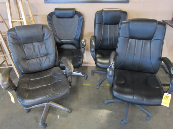 LOT OF (4) EXECUTIVE CHAIRS (ARMS WORN)