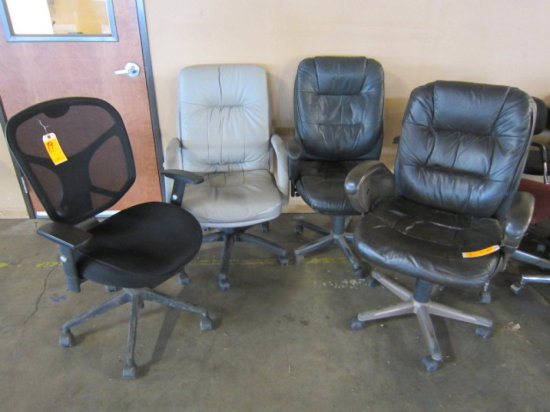 LOT OF (4) ASSORTED CHAIRS (SOME WORN)