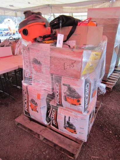 PALLET W/(7) RIDGID WET/DRY VACS, AIR COMPRESSOR & VARIOUS TOOLS (ALL NON-OP)