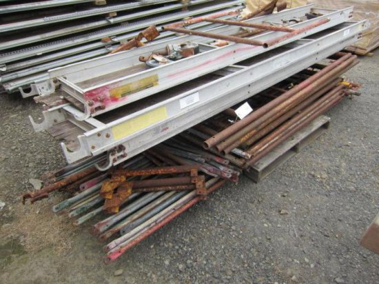 PALLET W/ASSORTED SCAFFOLDING (UPRIGHTS, BRACES, PLANKS & CASTERS)