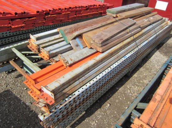 PALLET RACKING - (5) 44'' X 12' UPRIGHTS, (4) 10' CROSSARMS, (8) 8' CROSSARMS & SHELVING