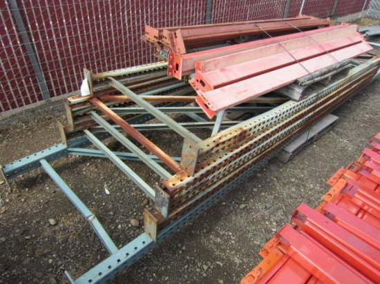 PALLET RACKING - (4) 44'' X 12' & (1) 44'' X 16' UPRIGHTS & (14) CROSSARMS (9', 8' & 7'6'')