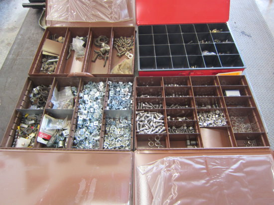 LOT OF 4 HARDWARE METAL ORGANIZER BOXES