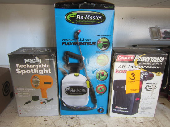 LOT OF COLEMAN AIR COMPRESSOR, FLOMASTER GARDEN SPRAYER AND CHICAGO SPOTLIGHT